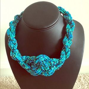 Beaded Necklace - Blue Tone